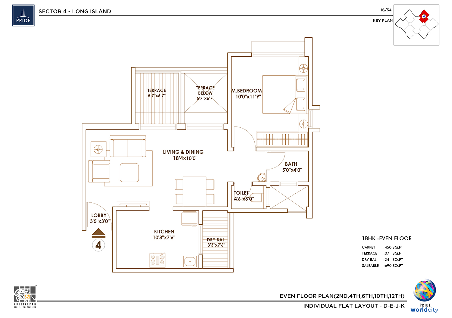 Long Island - 1 BHK Floor Plan