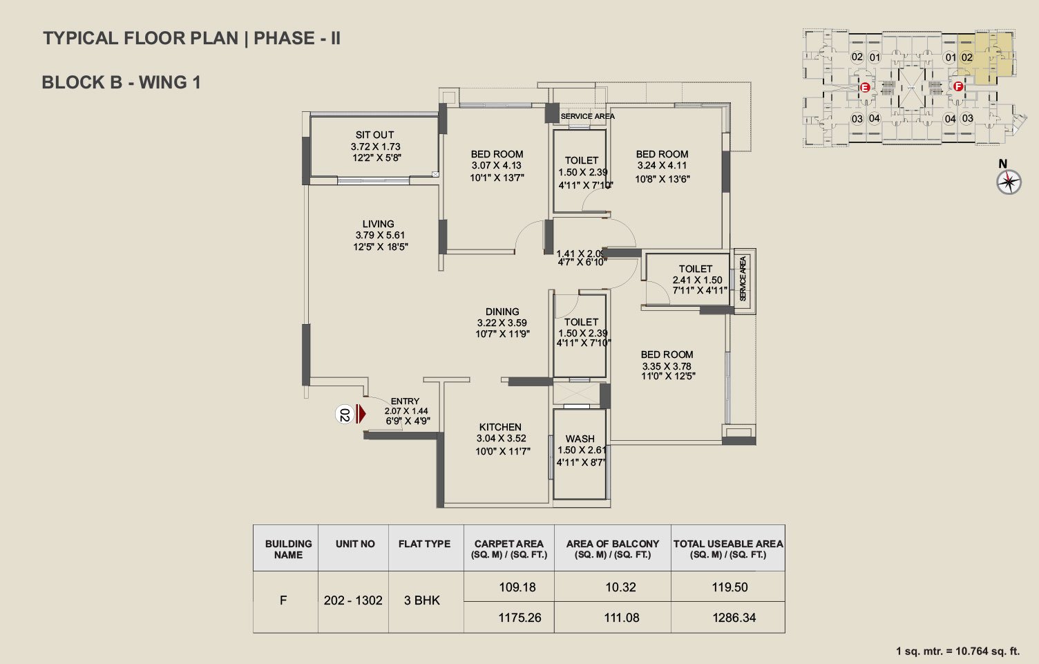 Pride Enchanta  - II - 3 BHK Floor Plan