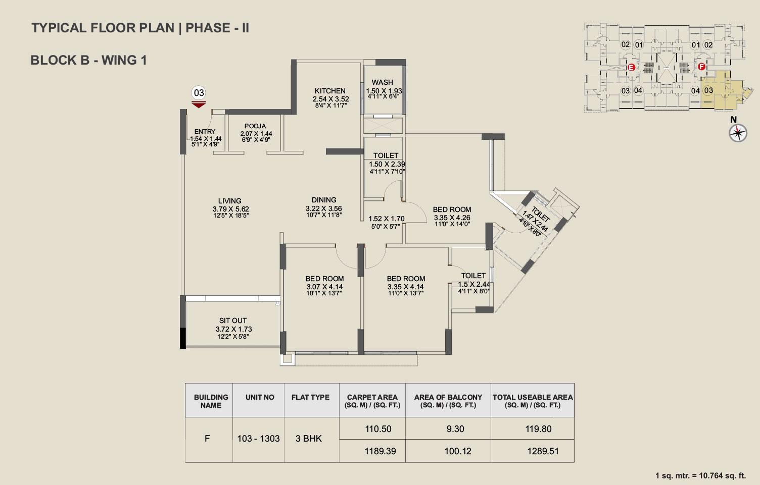 Pride Enchanta  - II - 3 BHK Floor Plan