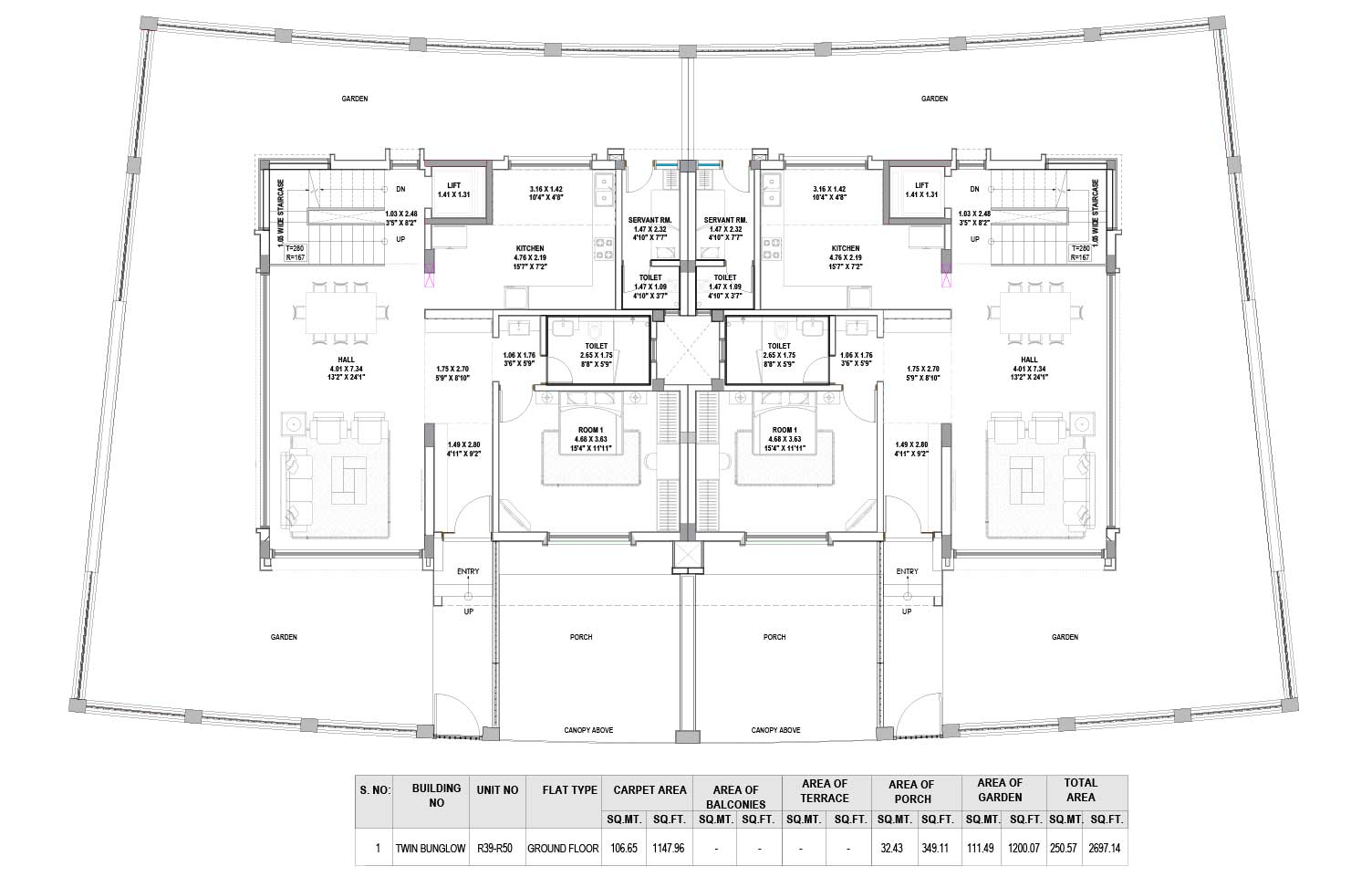 Notting Hill - 3 BHK Floor Plan